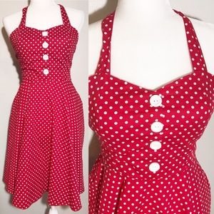 Vintage 50's Red White Polka Dot Halter Dress